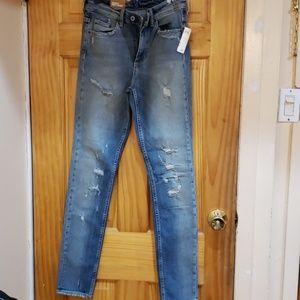 H&M medium wash skinny high-waist rip jeans 26/30
